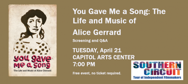 South Arts Film Series: You Gave Me a Song: The Life and Music of Alice Gerrard